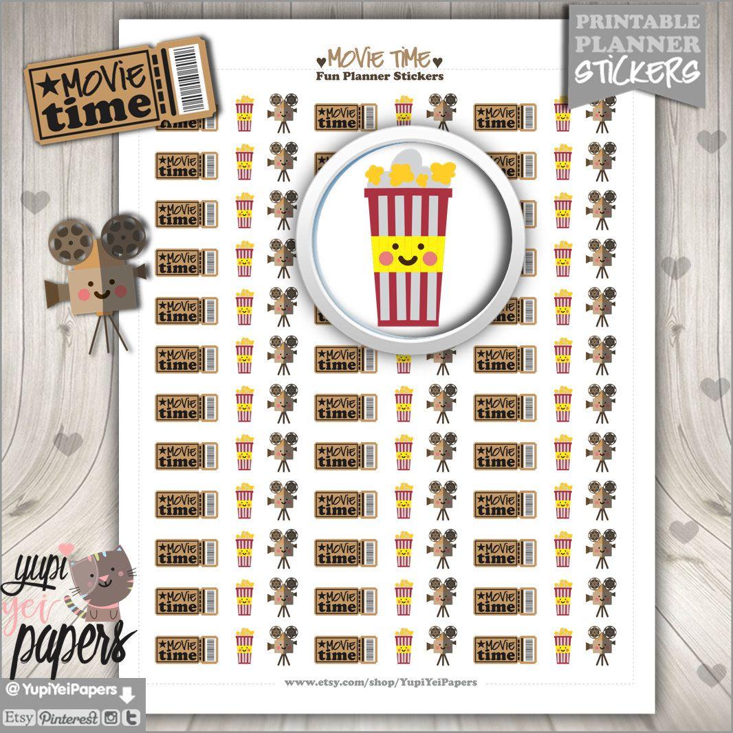 Movie Stickers, Planner Stickers, Popcorn Stickers, Printable Planner Stickers, Planner Accessories, Planner, Erin Condren, Kawaii Stickers