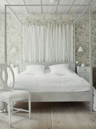Four Poster Bed From Wreta Gestgifveri White Theme Bedroom Design;