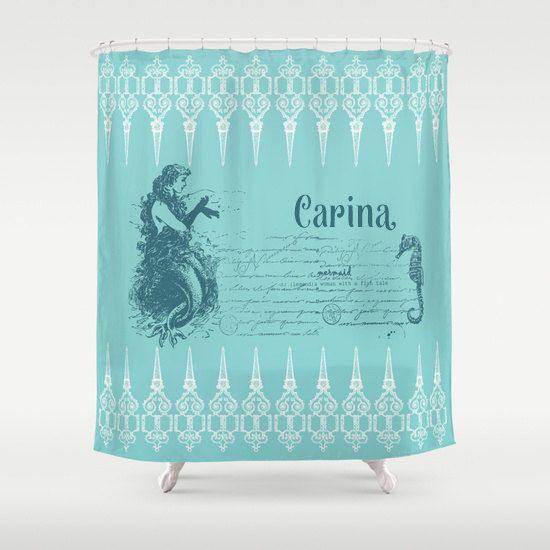 Mermaid Shower Curtain Vintage Mermaid And Seahorse Teal And