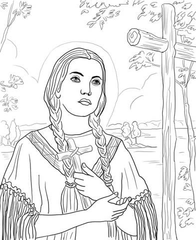 St Kateri Tekakwitha Coloring page from Saints category