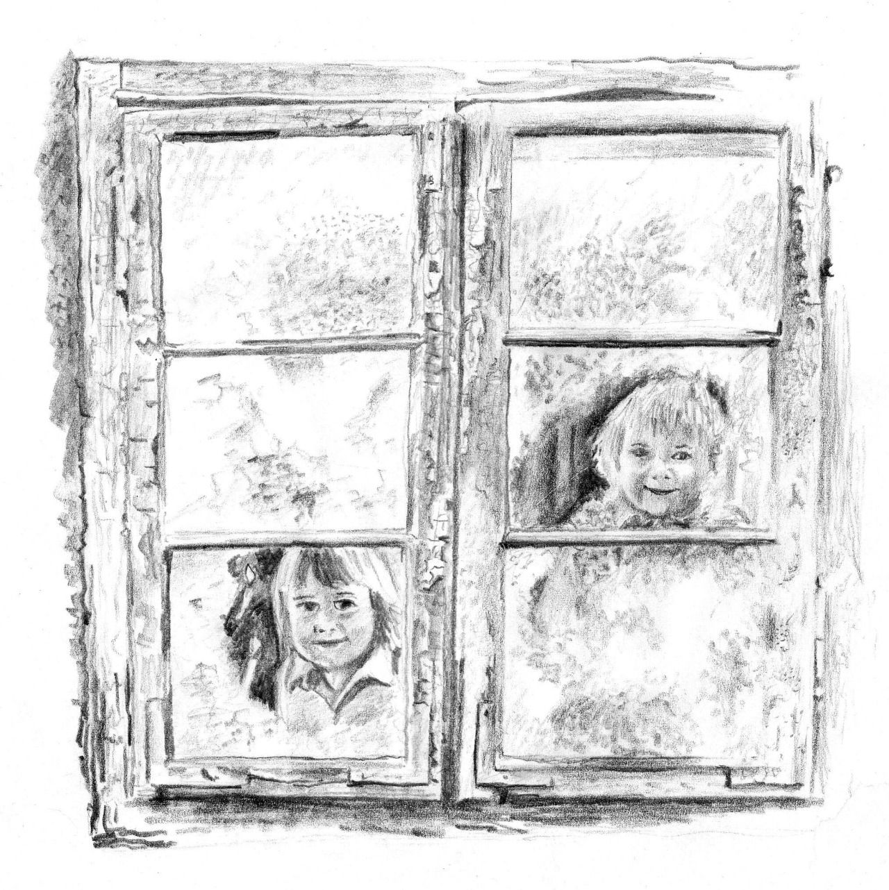 girls at a window at christmas pencil drawing
