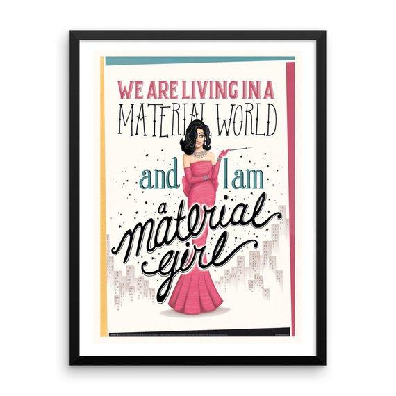 Framed Material Girl Music Poster Vintage Typography Lyrics Art