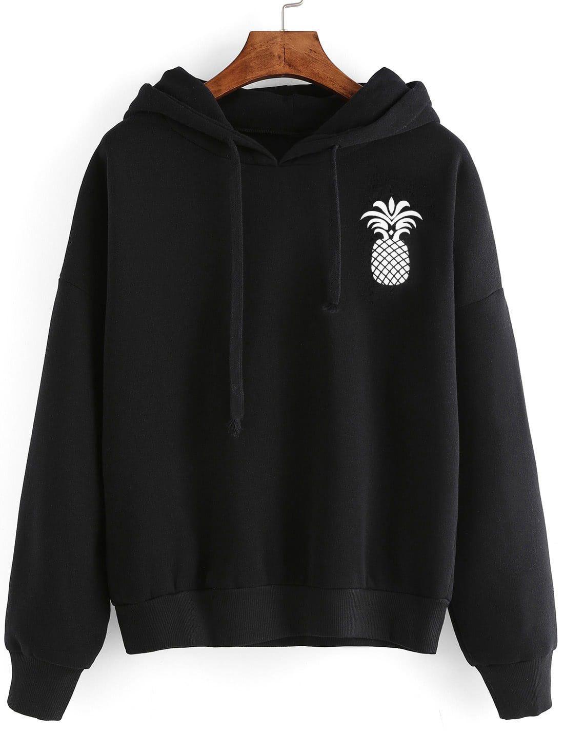 Pineapple Print Drop Shoulder Hooded Drawstring Sweatshirt Pineappleprintdropshoulderhoodeddraws Printed Hooded Sweatshirt Drawstring Sweatshirt Sweatshirts [ 1465 x 1100 Pixel ]