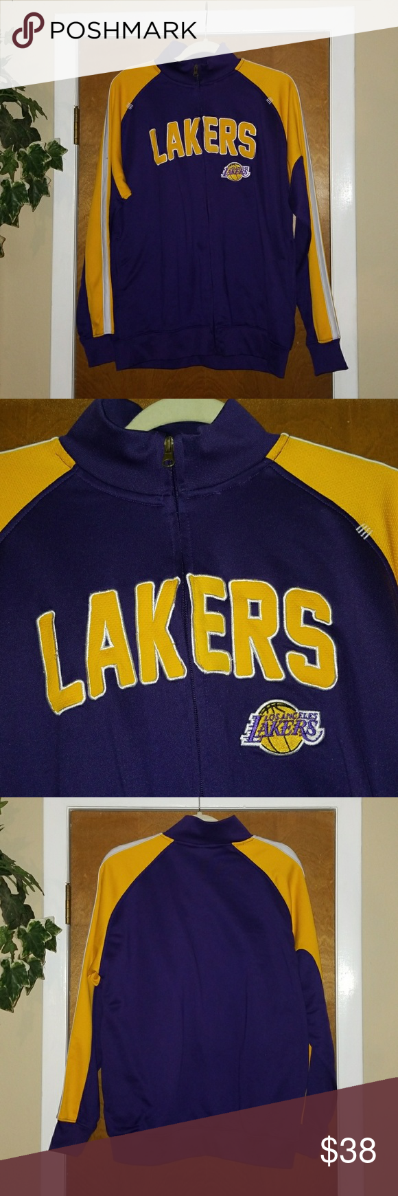 Lakers Jacket NBA LA Los Angeles Zip Up Med Excellent pre-loved condition!  Zips all the way down, light weight. nba Jackets & Coats Performance Jackets