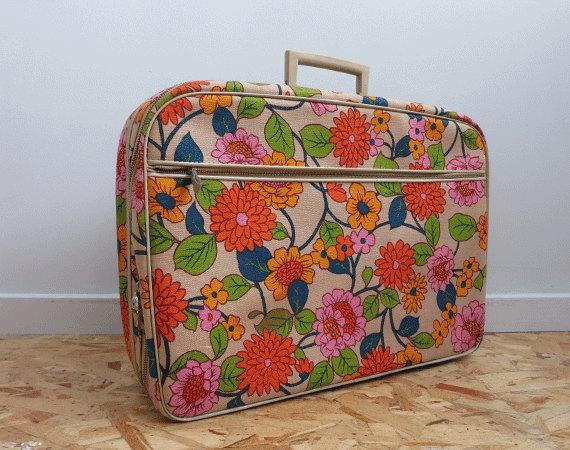 Vintage Flower Print Luggage / 1960s Floral Print Fabric Suitcase ...