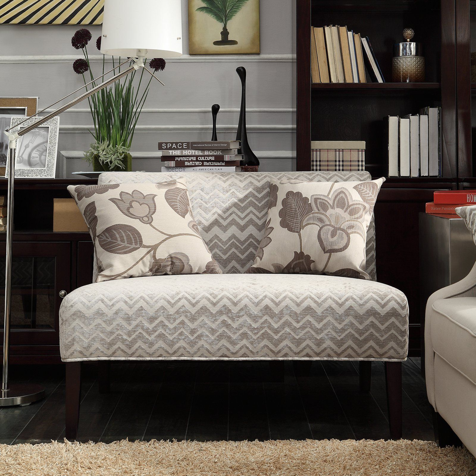 Knightsbridge Tufted Scroll Arm Chesterfield 7-seat L-shaped Sectional by  iNSPIRE Q Artisan (Beige Linen), Brown (Bonded Leather). Living Room ...