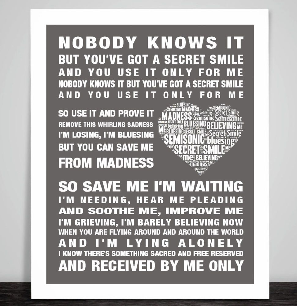 Details about Semisonic Secret Smile Music Love Song Lyrics Art ...