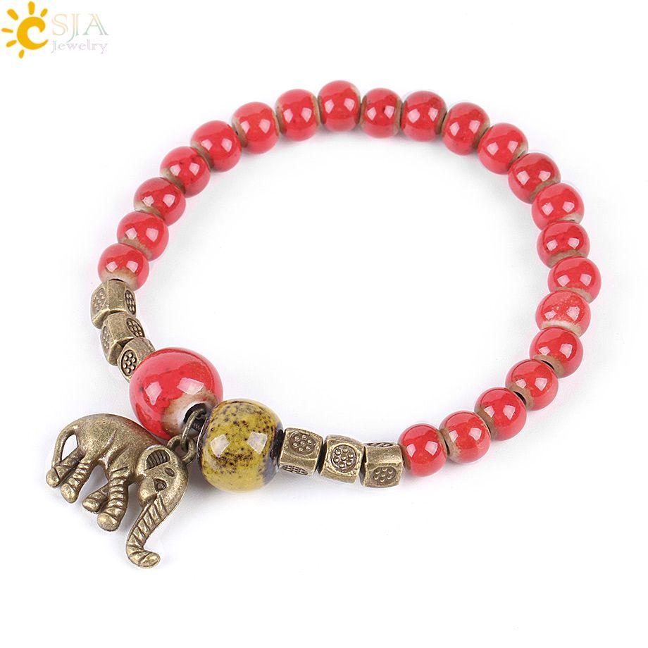 Csja red porcelain ceramic beaded bracelets for girls amulet