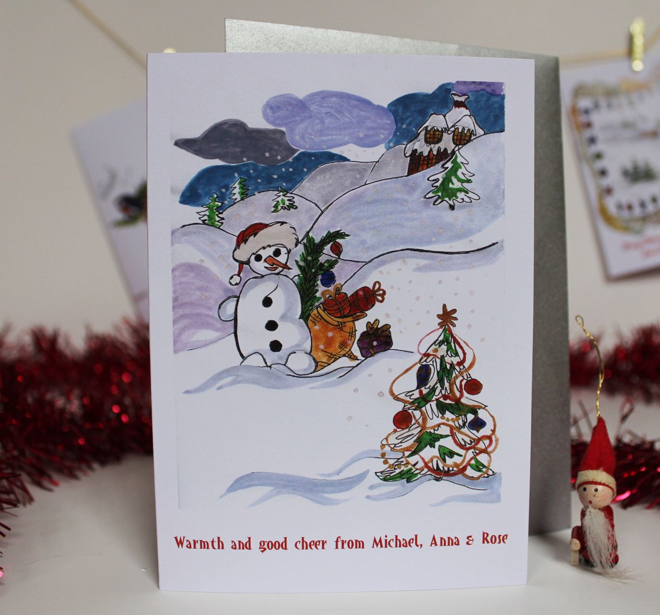 6 Personalised Illustrated Christmas Greeting Cards With Envelopes