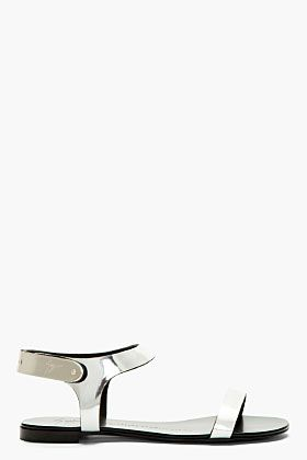 Giuseppe Zanotti Silver Leather Nuvoroll Flat Sandals for women | SSENSE