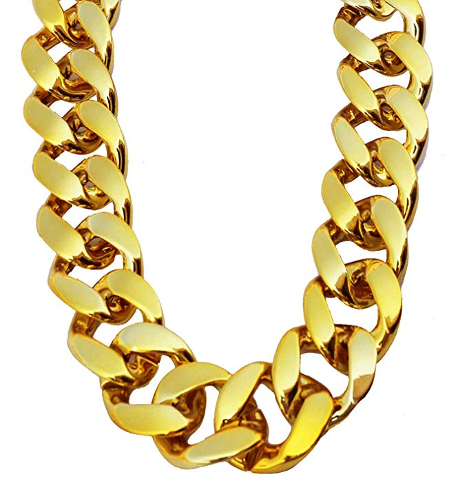 Pincute Big Chunky Hip Hop Turnover Chain Face Gold Chain Costume Plastic Gold Chain Necklace 90s Punk Fashion Necklace Chains For Sale Gold Chain Necklace