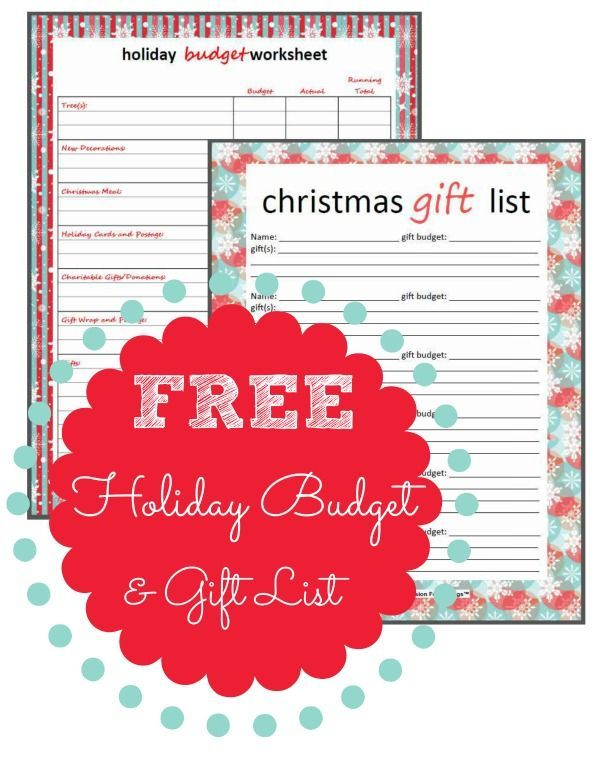Get ready for the holidays with these FREE Holiday Budget and Gift