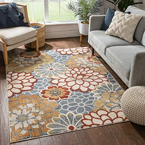 Well Woven Della Multi Grey Red Modern Floral Flat Weave Hi Low Pile Area Rug 8x10 7 10 X 9 10 Well Woven In 2020 Well Woven Flat Weave Rug Shapes