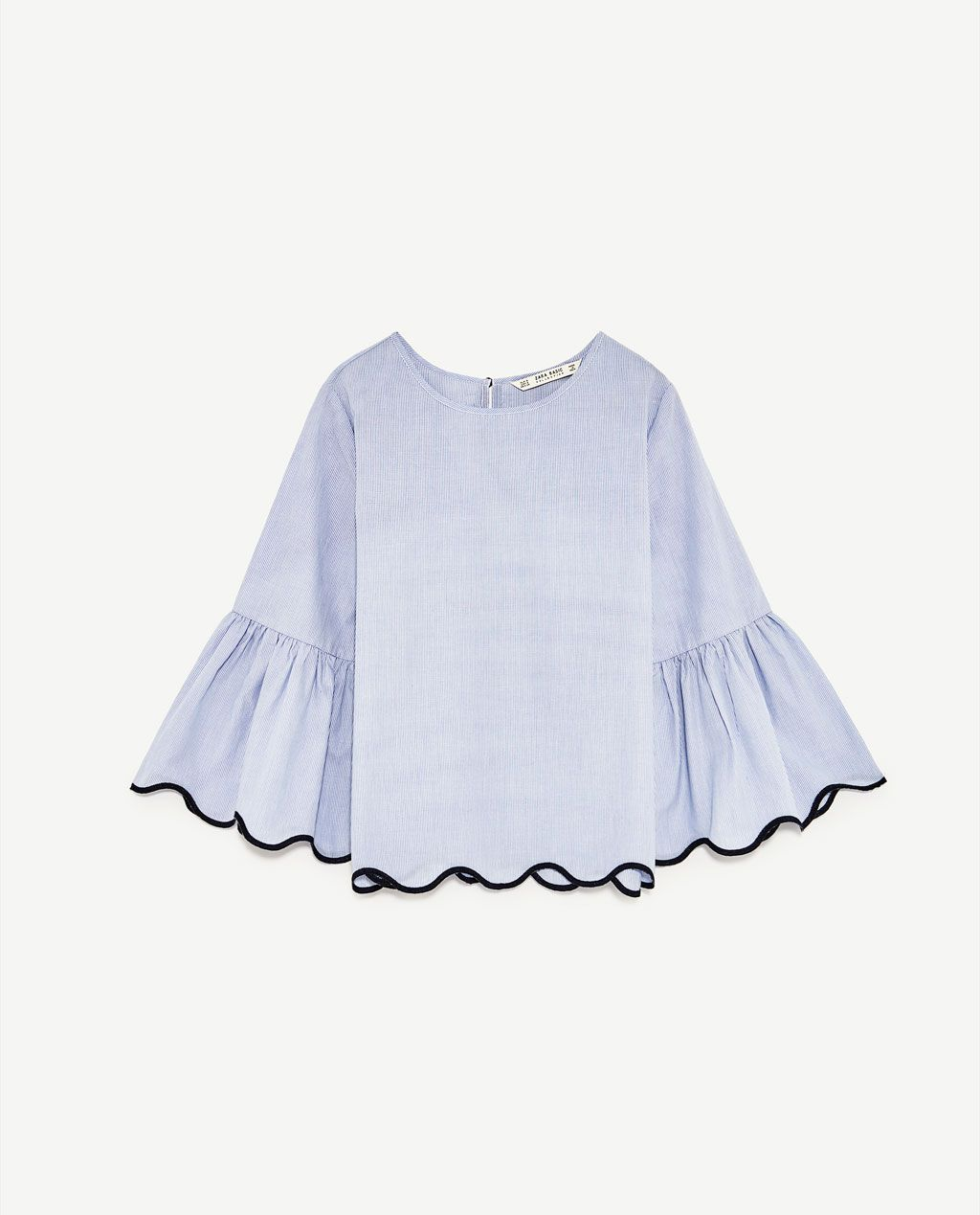 07a9fdad221c Image 8 of STRIPED TOP WITH SCALLOPED HEM from Zara