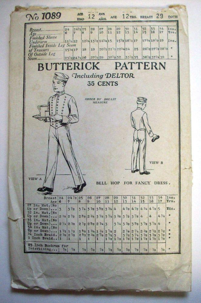 1920\'s 1930\'s BELL HOP fancy dress Waiter boys age 12 pattern ...