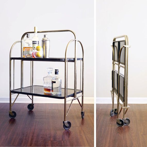 Vintage Metal Folding Bar Cart By Caprockvintage On Etsy Folding Bar Cart Bar Cart Vintage Bar Carts
