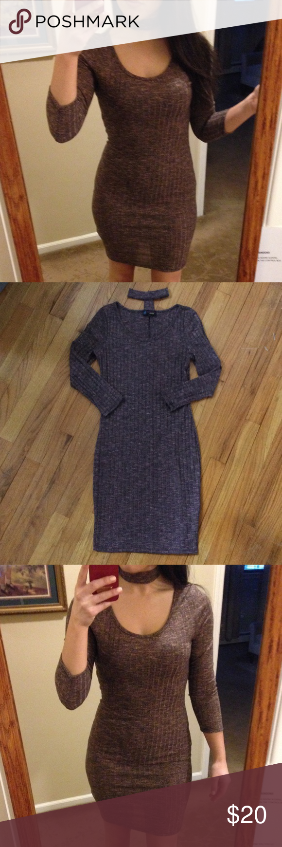 Bodycon choker dress Size medium bodycon dress with attached choker. Light sweater material. Worn once for photos :) brand new condition Dresses Mini