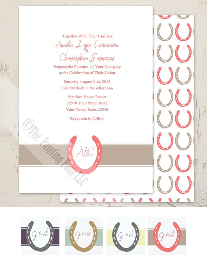 Lucky In Love Horse Shoes Wedding Invitation 10 Pk Gala