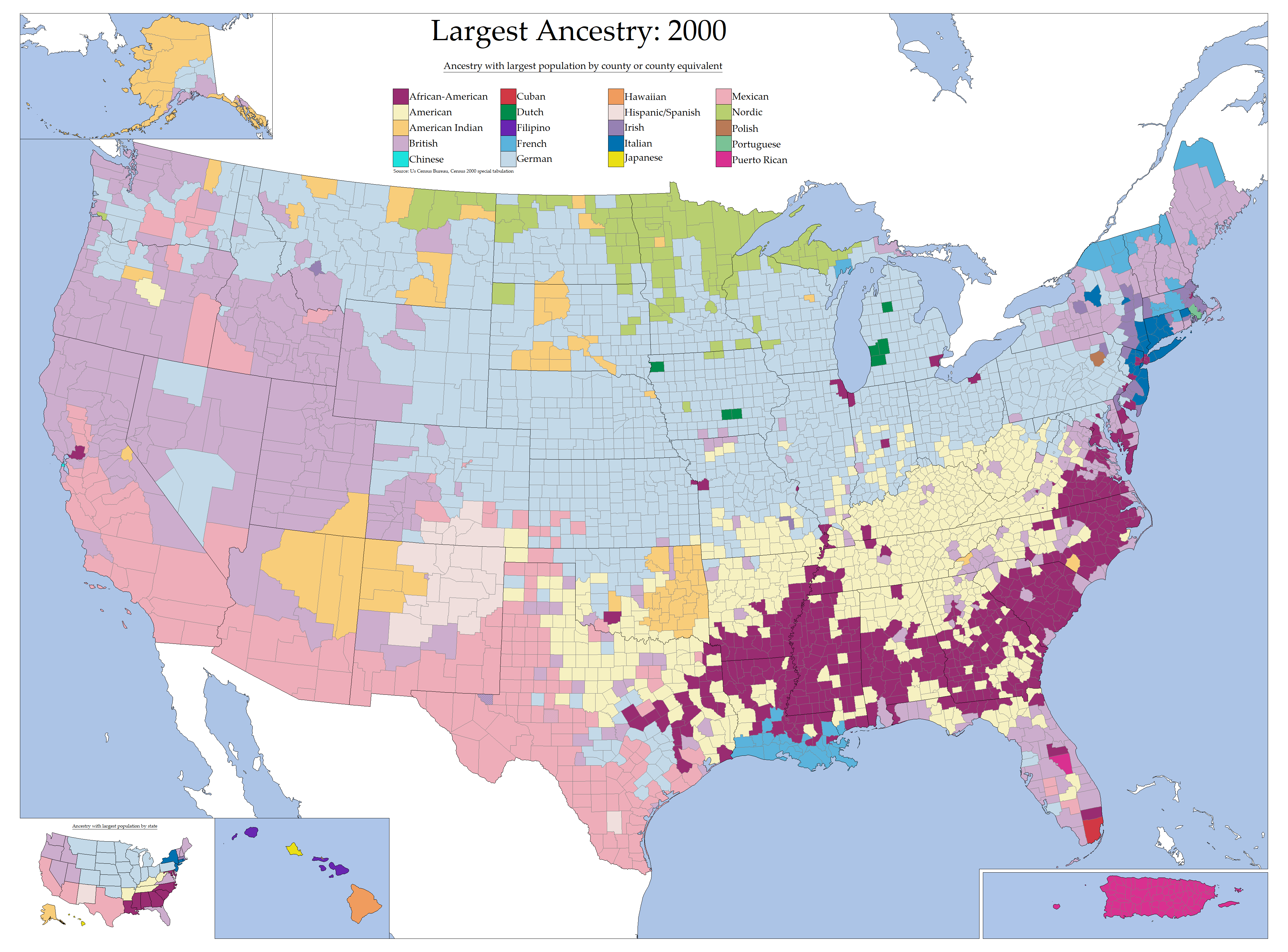 Largest Ancestry in the United States by county in 2000 4200x3105