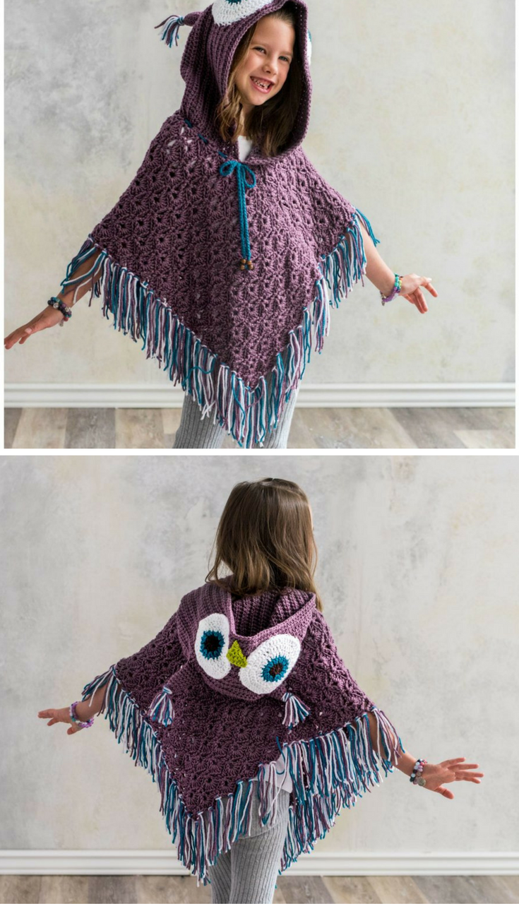 The Hooded Owl Poncho is a Hoot! Find the Crochet Pattern here ...