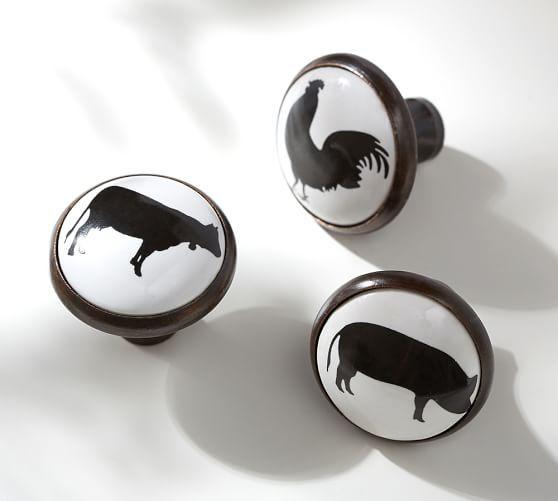 Good Farm Animal Knobs | Pottery Barn $3