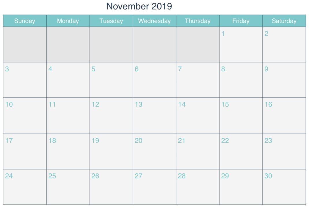 November 2019 Calendar Calendar Printables Calendar