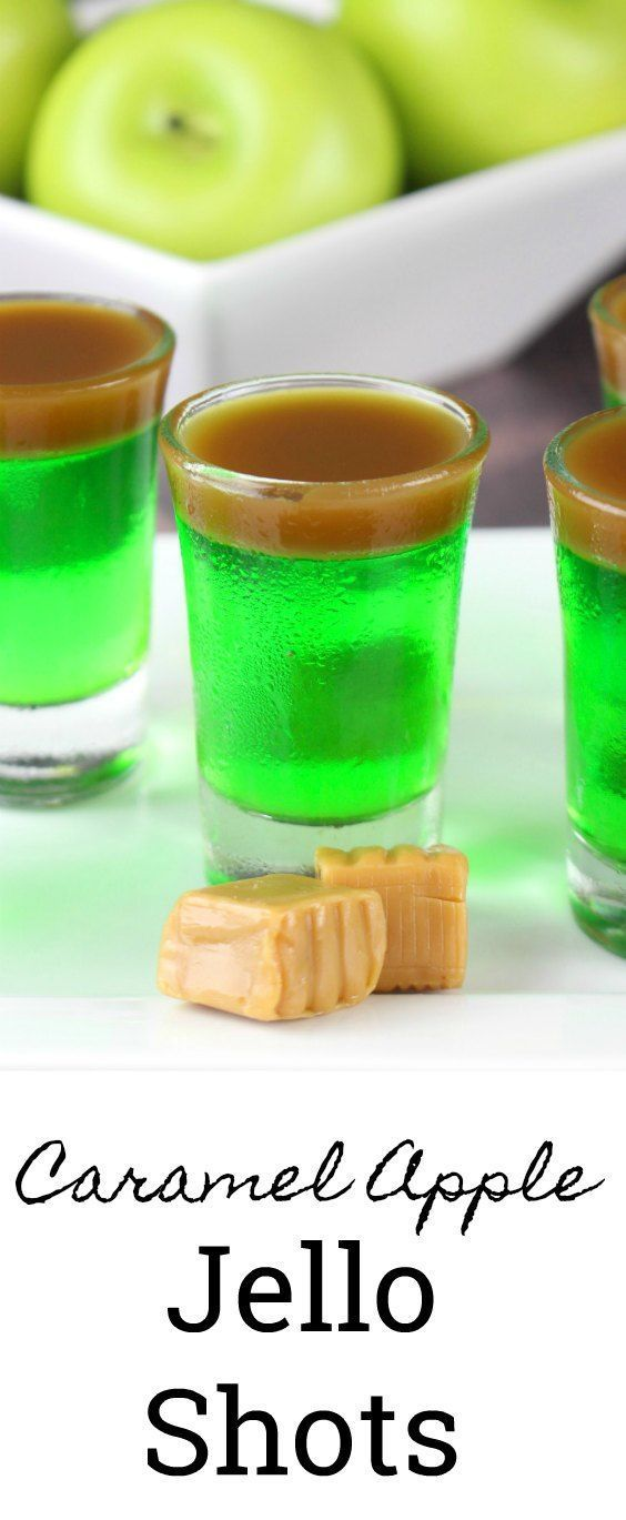 These caramel apple Jello shots will be the hot of your next party! #halloween #drinks #fall #tailgate #jelloshots