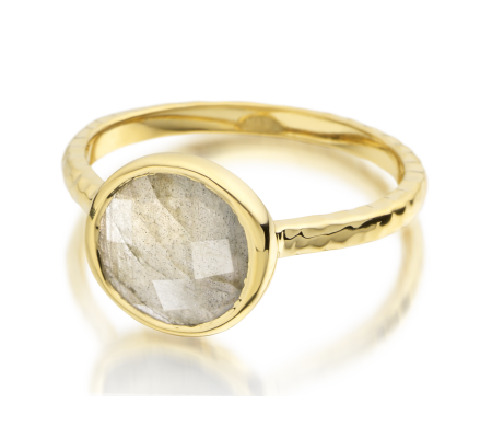 Mini Luna Ring 18ct Gold Plated Vermeil on Sterling Silver Labradorite | Monica Vinader