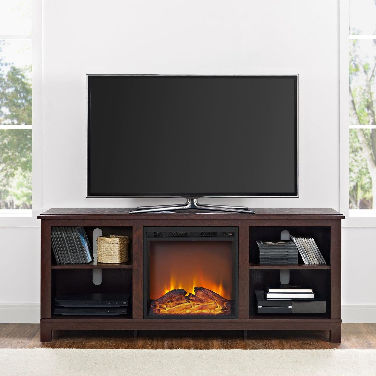 Melvina Media Console With Electric Fireplace Fireplace Tv Stand
