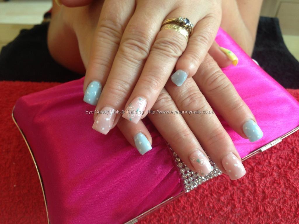 Acrylic+nails+with+pastel+gelish+gel+polish+free+hand+nail+art ...