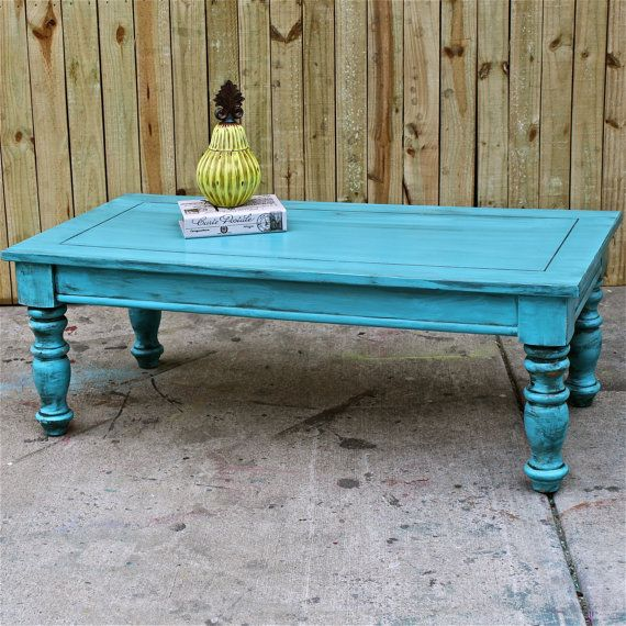 Distressed Blue Coffee Table: Bayside Blue/ Coffee Table/ Table/ Vintage /Shabby Chic
