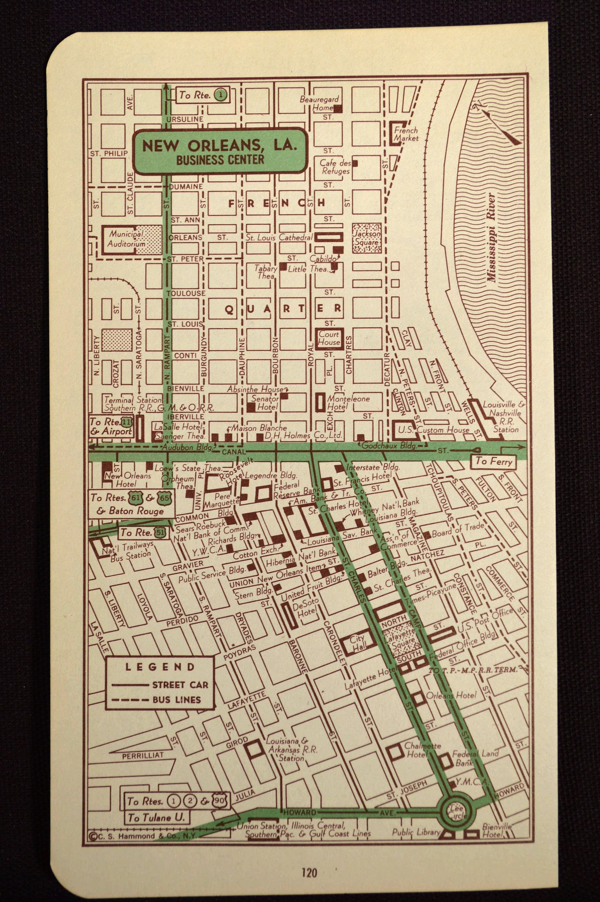 New Orleans Map Of New Orleans Street Wall Decor Art Vintage