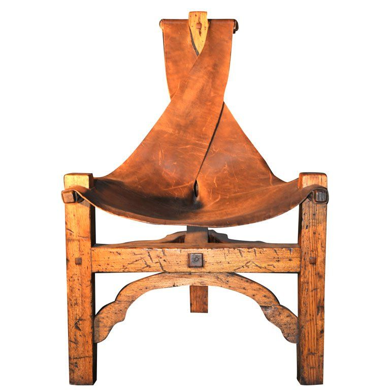 Arts And Crafts 3 Legged Leather Sling Chair At 1stdibs Arts And Crafts Furniture Arts And Crafts Interiors Leather Sling Chair