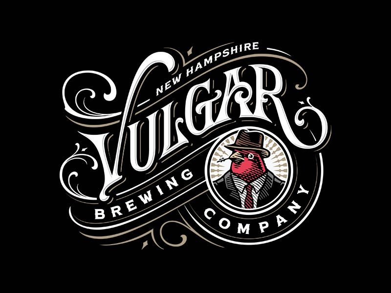 Vulgar Brewing Company Vintage Logo Design Text Logo Design Beer Logo Design