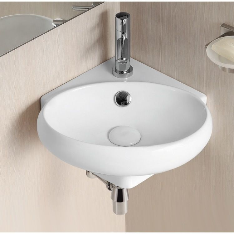 Oval White Ceramic Wall Mounted Corner Bathroom Sink Small