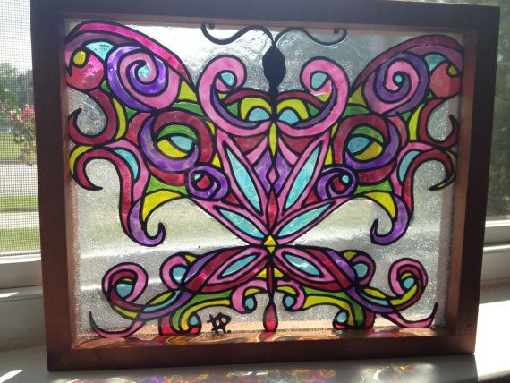 Cute girly pink butterfly original glass by SparkysGlassArt, $40.00