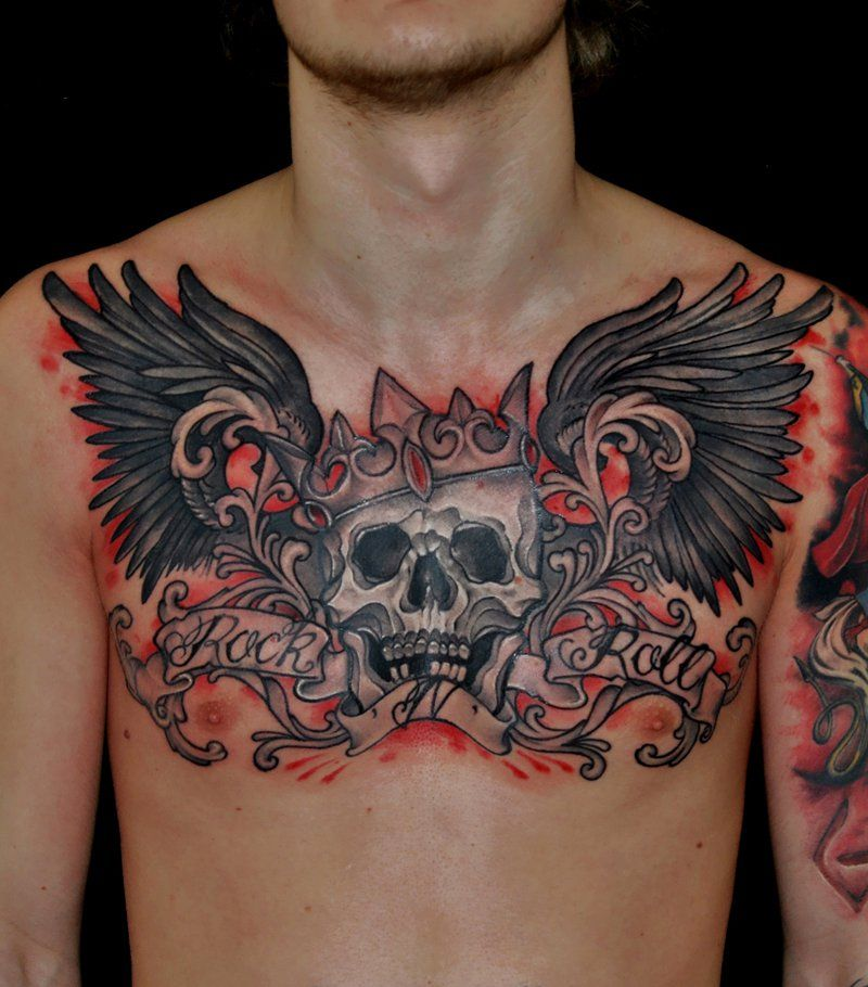 Maybe Up A Lil Higher With Longer Wings A Bow Instead Of A Crown And Brighter Colors Chest Tattoos For Women Tribal Shoulder Tattoos Chest Piece Tattoos