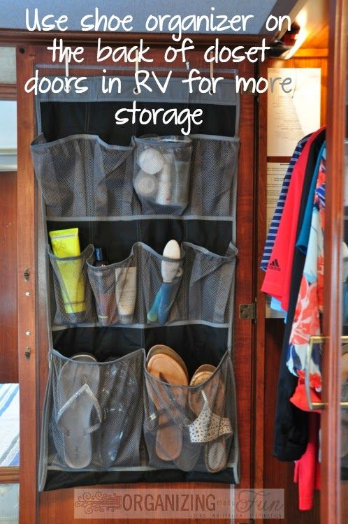 Use A Shoe Organizer On The Back Of Closet Doors In A Small Space Or Rv To Maximize Space Organizingmade Rv Organization Small Space Organization Rv Storage