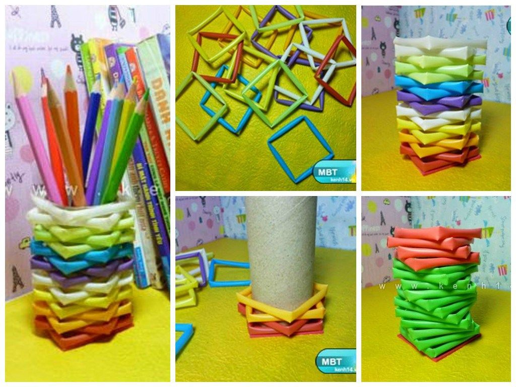 Diy pencil holder from drinking straws and toilet paper for Diy using toilet paper rolls