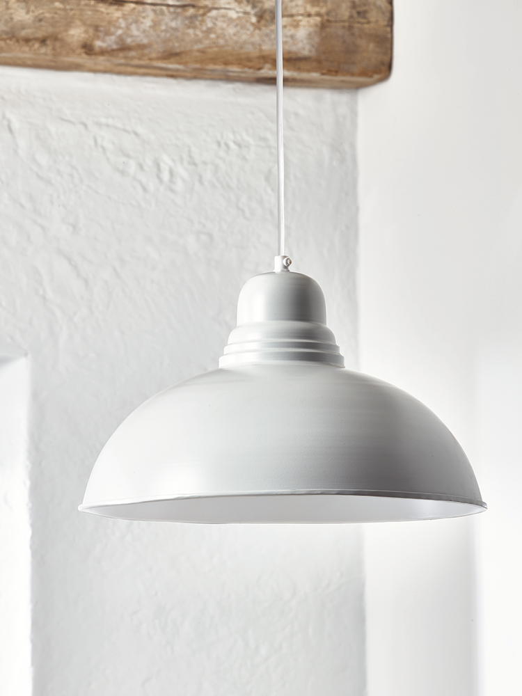 Beautifully Handspun Our Trinske Pendant Is Made From Lightweight Iron With A Powder Coated Light Grey Exterior Each Includes Simple White Flex