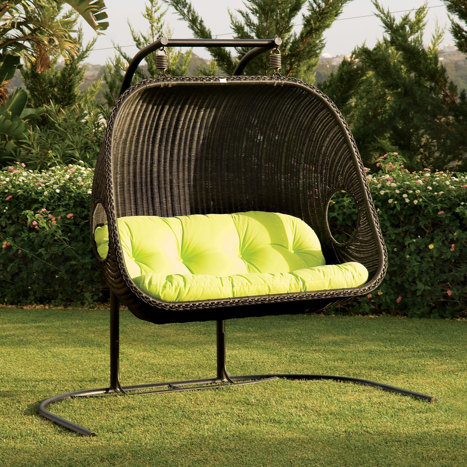 Cool Frontyard Exterior Design With Black Rattan Hanging Wicker Chair With  Tufted Seat