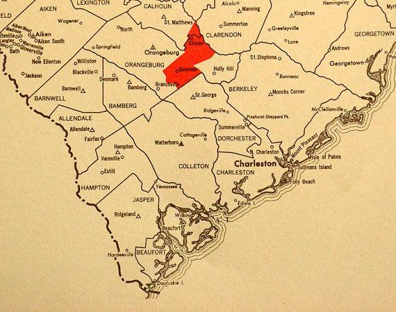 Vintage South Carolina Map.Vintage South Carolina Map Antique South Carolina Map South