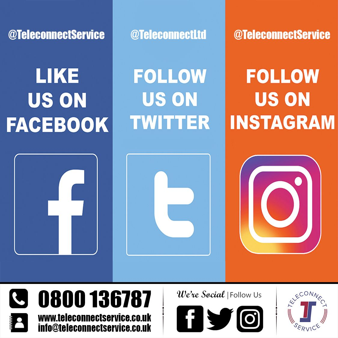 Connected With Teleconnect Social Media Signs Social Media Facebook Instagram Sign