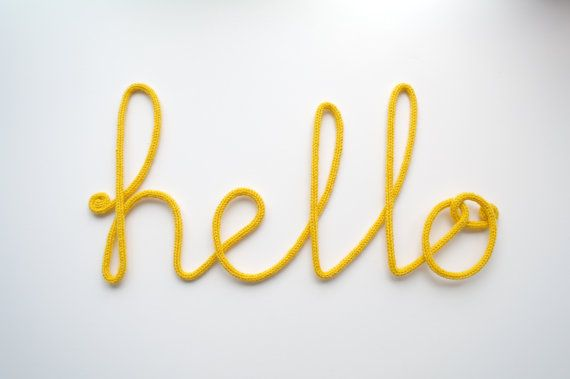 Big Yellow Quot Hello Quot Crochet Cursive Wire Wall Word Wire Sign Wall Phrases Cursive