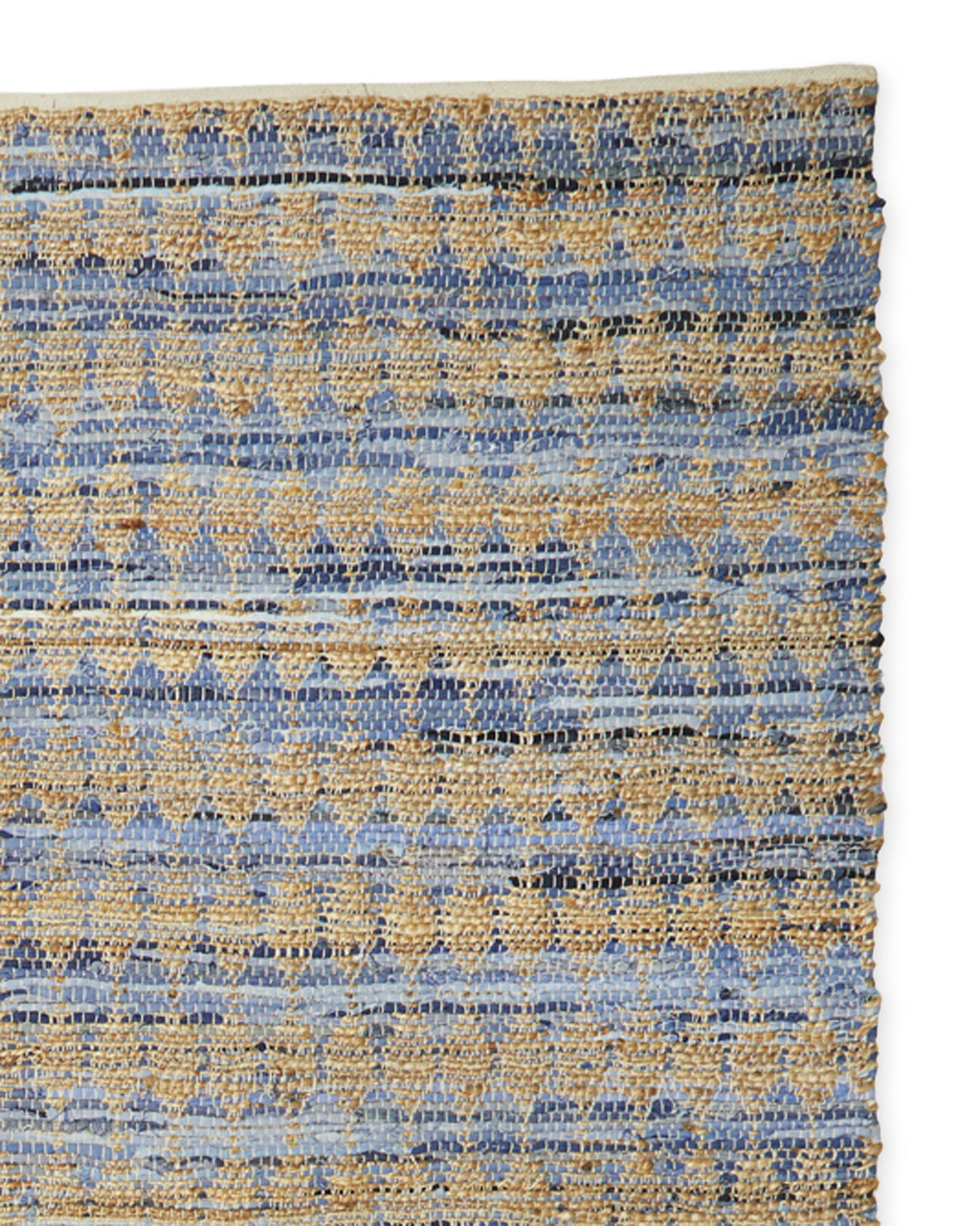 Add a coastal air with shades of blue and natural. Here, a perfectly imperfect pattern of diamonds gives denim and hemp an iconic look, without detracting from the relaxed vibe. Woven entirely by hand.