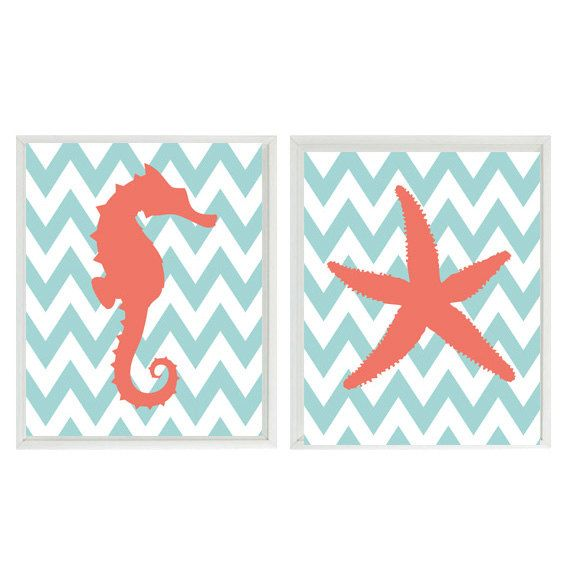 Seahorse Starfish Beach Nautical Sea Creature Chevron Art Print Duo-  Nursery Children Room Aqua Coral - Wall Art Home Decor Prints