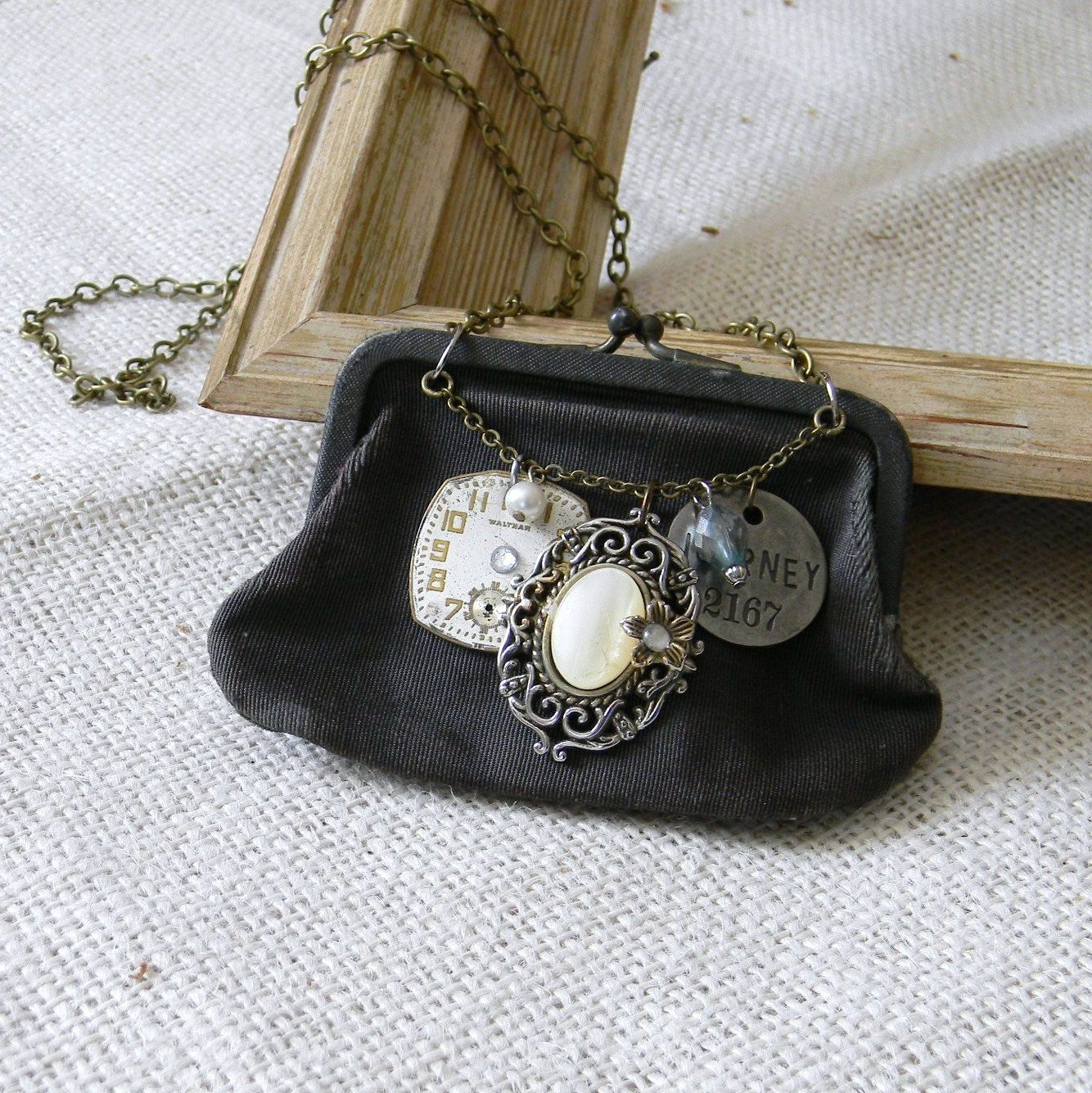 Repurposed Vintage Coin Purse Charm Necklace