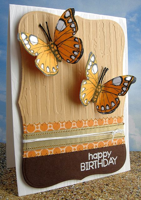 #papercraft #card card with kraft embossed panel...designer paper...two dimensional butterflies...