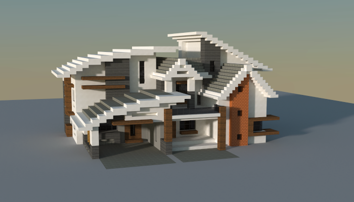 House i made in minecraft jar9 modern houses and for Modern house schematic