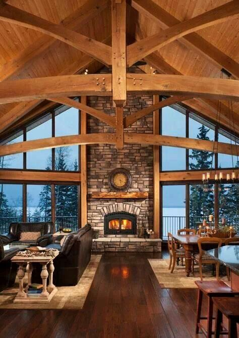 Stone livingroom Lake house Pinterest Stone, Cabin and House